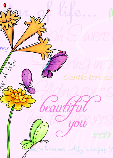 greeting card - Beautiful You Butterfly Garden by Olivia A Kneibler