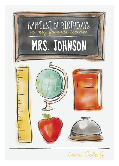 greeting cards - Teacher's Birthday Card by Vanessa Wyler