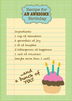Recipe for an awesome birthday