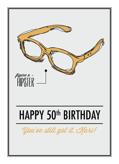 Greeting Card Hipster 50th At Minted Com