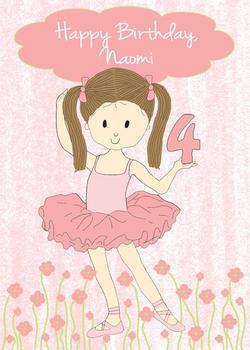 Ballerina Girl Birthday Card
