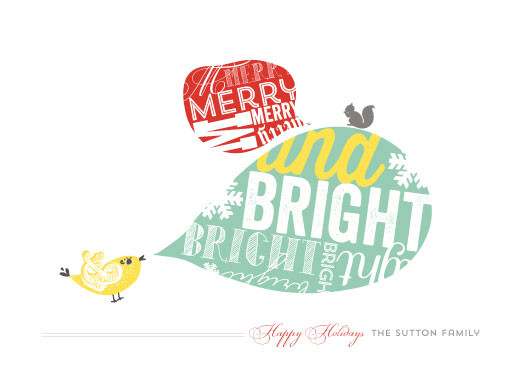 non-photo holiday cards - Birdies are tweeting by Larkspur Paperie