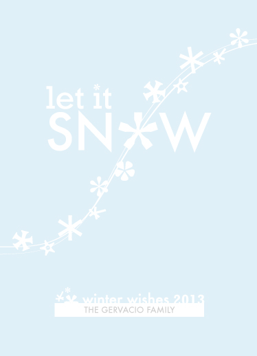 non-photo holiday cards - Winter Wishes & Snowflake Kisses by Janelle Ferreira