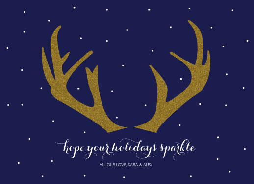 non-photo holiday cards - Sparkling Antlers by Bright Room Studio