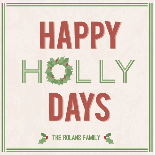 non-photo holiday cards - happy holly days by Whitney Maass