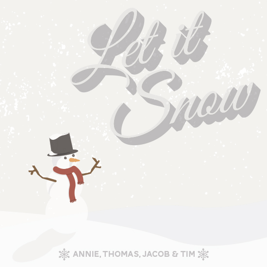 non-photo holiday cards - Let it snow snowman by Whitney Maass