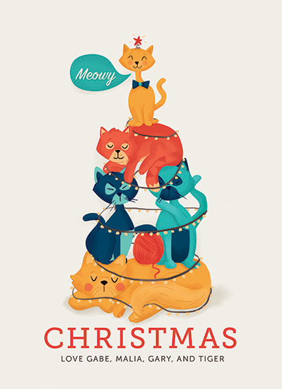non-photo holiday cards - Meowy Christmas by Pistols