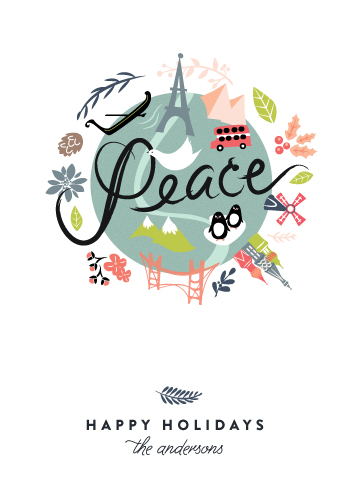 non-photo holiday cards - Peace on Earth by Lori Wemple