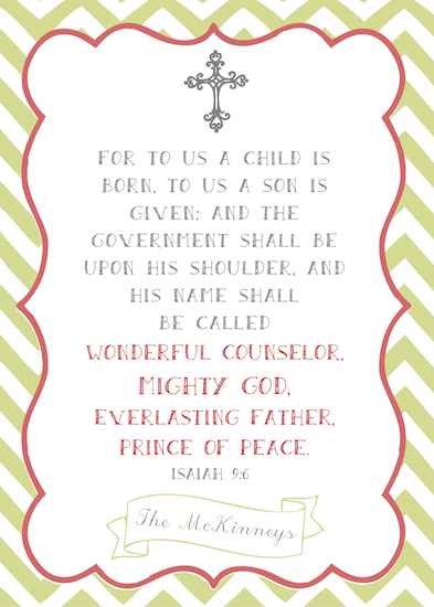non-photo holiday cards - A Child is Born Isaiah 9:6 by Ashley McKinney