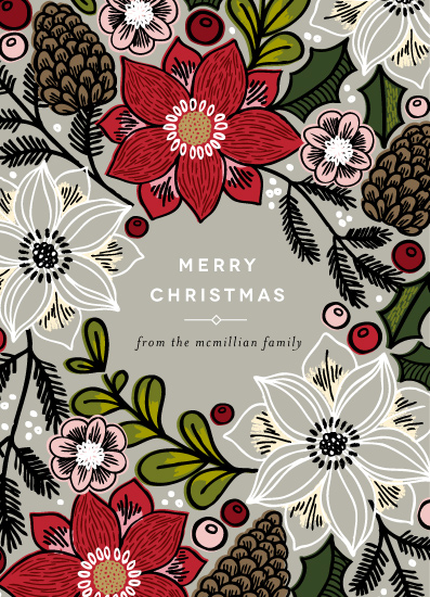 non-photo holiday cards - Poinsettias and Pinecones by Alethea and Ruth