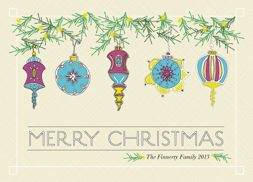 non-photo holiday cards - Vintage Christmas Baubles by Ellen Morse