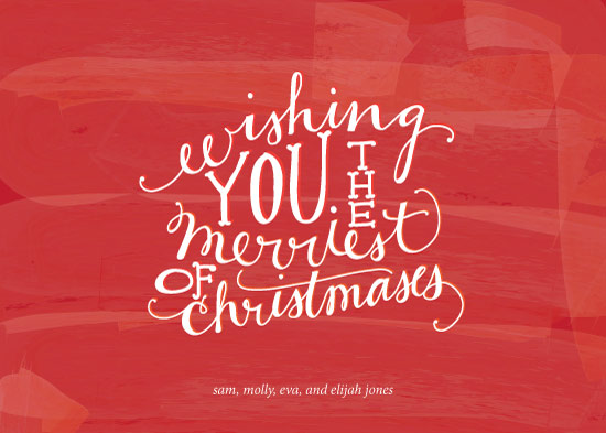 non-photo holiday cards - Merriest of Christmases by Paper Lovely