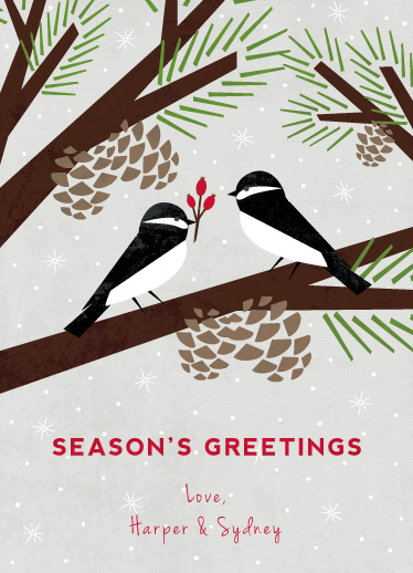 non-photo holiday cards - Chickadee Gift by Eine Kleine Design Studio