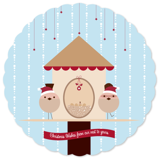 non-photo holiday cards - From Our Nest To Yours by digijewels