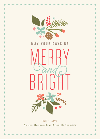 non-photo holiday cards - Brightly Merry by Jennifer Wick