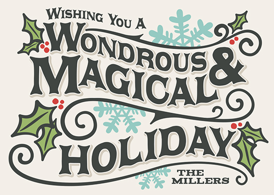 non-photo holiday cards - Wondrous by GeekInk Design