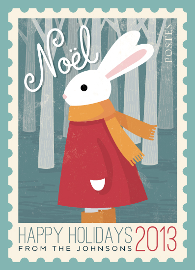 non-photo holiday cards - Noel Postage by Four Wet Feet Studio