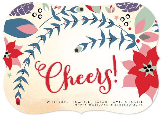 non-photo holiday cards - Fanciful Foliage Cheers by Phrosne Ras