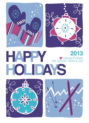 non-photo holiday cards - Winter fun by Ellen Morse