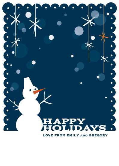non-photo holiday cards - Twiggy Snowman by Chika Fujisawa