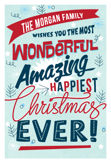 non-photo holiday cards - Most Wonderful Christmas Ever by Coco and Ellie Design
