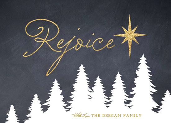 non-photo holiday cards - Glittering Rejoice by Erin Deegan