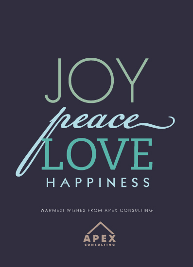 business holiday cards - Joy Peace Love Happiness by Megan Long