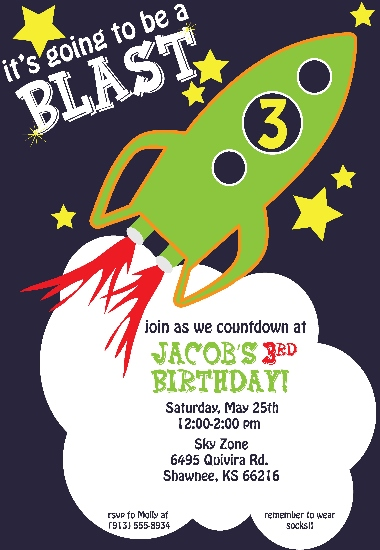 party invitations - Rocket Man by Elite Party Creations