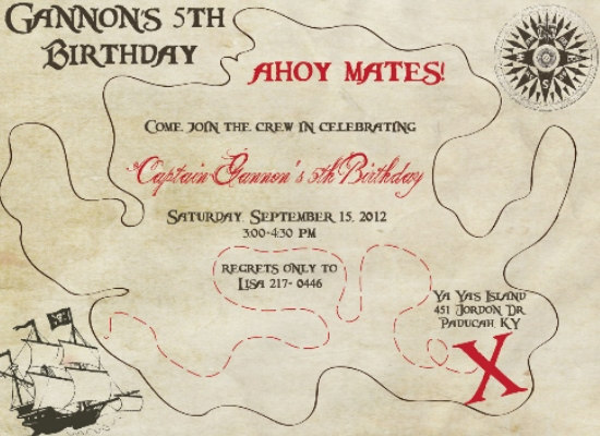 party invitations - Ahoy Matey!! by Elite Party Creations