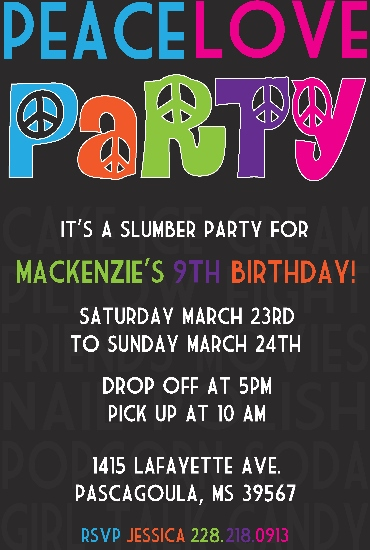 party invitations - Peace.Love.Party by Elite Party Creations