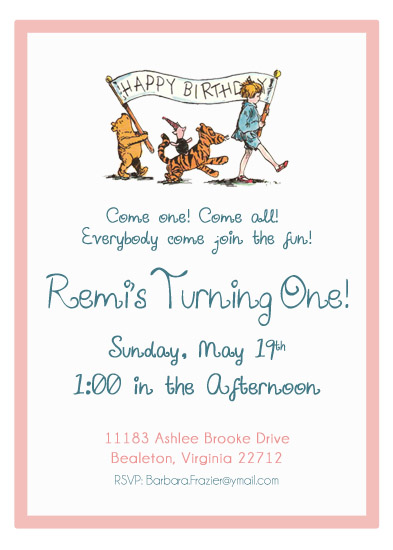 Party Invitations Winnie The Pooh Birthday