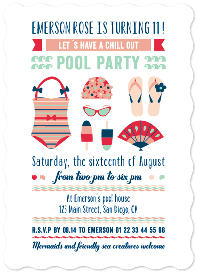 party invitations - the pool party by Bonjour Paper