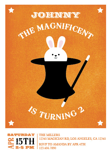 party invitations - Bunny in the Hat by Marlene Leibowitz