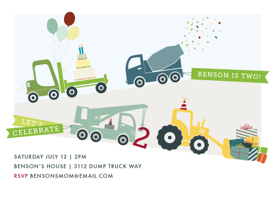party invitations - trucks on parade by Rebecca Bowen