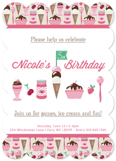 party invitations - Games, ice Cream and fun! - Version 2 by sg designs