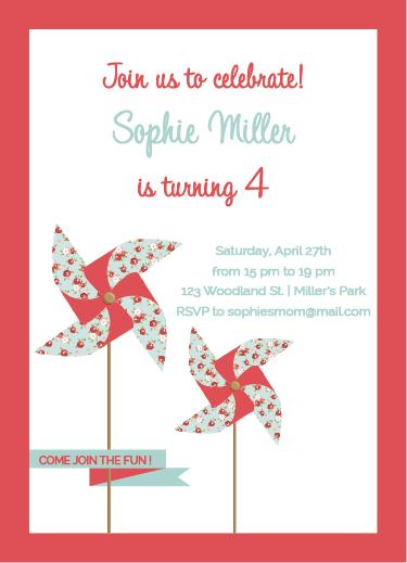party invitations - Sweet Pinwheel by Maria Micaela Blanco