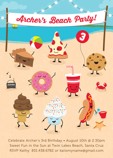 party invitations - Sweet Beach Party by Waui Design