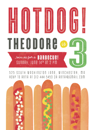 party invitations - HOTDOG! by hannahcloud DESIGN