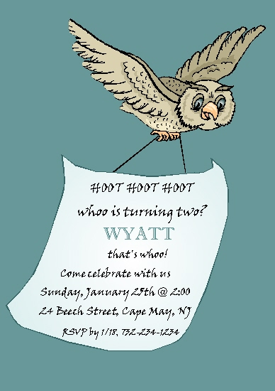 party invitations - Hoot Hoot Hoot by Rose R.