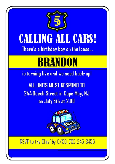 party invitations - Calling All Cars by Rose R.