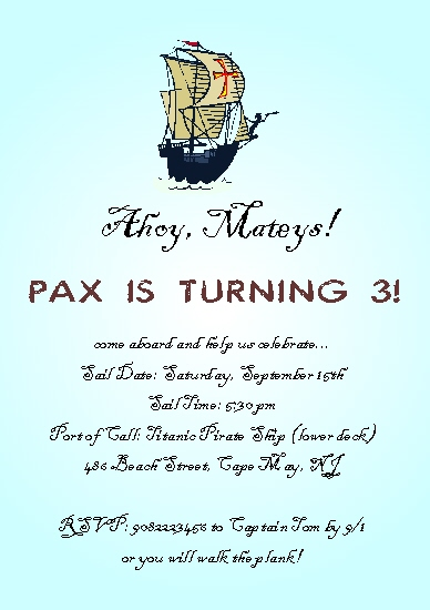 party invitations - Ahoy, Matey's by Rose R.