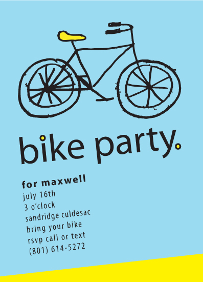 party invitations - Bike Party by Jenny Hadley