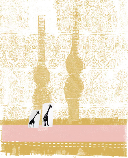 art prints - Two Giraffes Hitchhiking by Kristine Hickcox