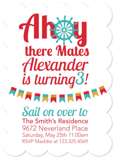 party invitations - Ahoy There Party Invitation by Meredith Collie
