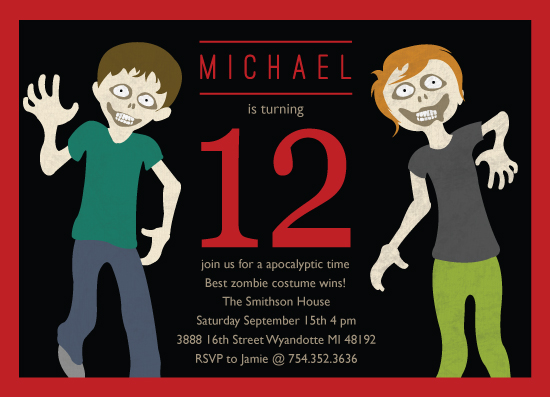 party invitations  zombie bash at minted, Birthday invitations