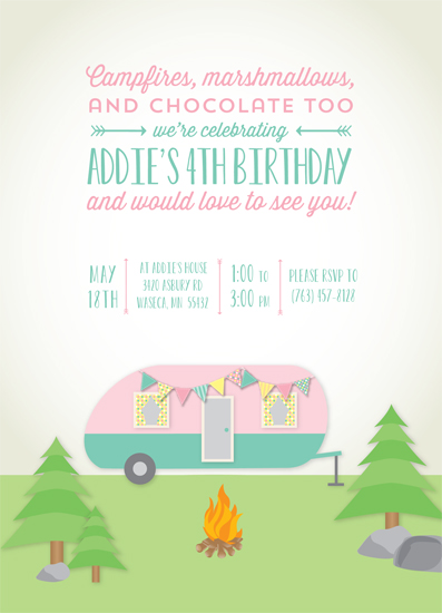party invitations - Retro Camping Trailer by Kim Nelson