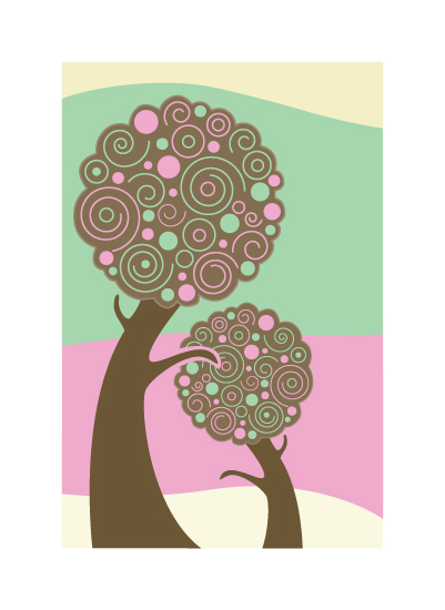 art prints - Swirled Trees by Mark Wilson