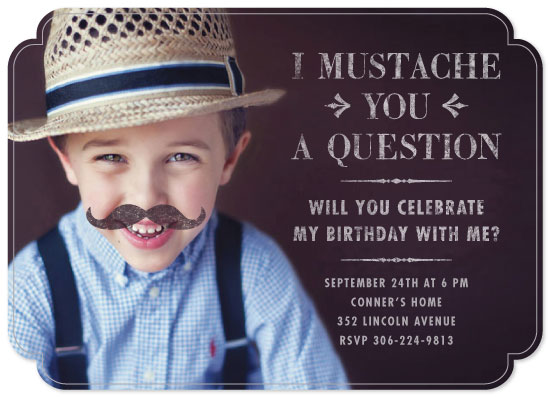 party invitations - I mustache you a question by the dotted j