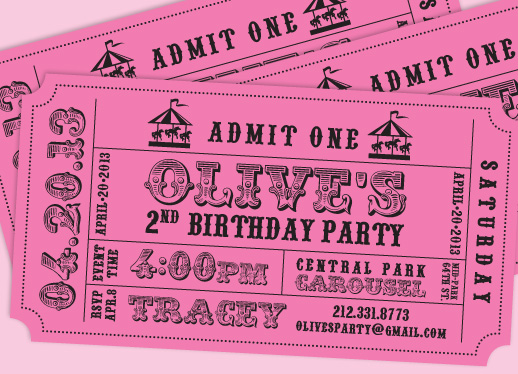 party invitations - Ticket to Fun by Artcey