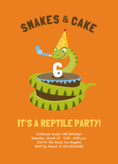 Party Invitations Snake Cake Reptile At Minted Com